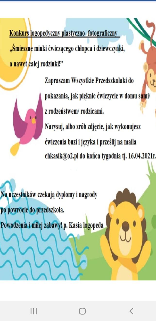 Konkurs Logopedyczno- plastyczno- fotograficzny!